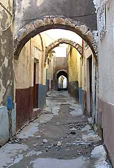 The narrow lanes of the old walled medina of Bizerte