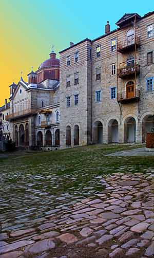 Sunset in the courtyard of Zografou Monastery