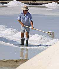 A worker on the salt pans