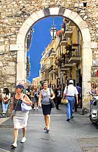 The main shopping strip in Taormina, Sicily